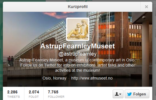 Astrup Fearnley Museet på Twitter