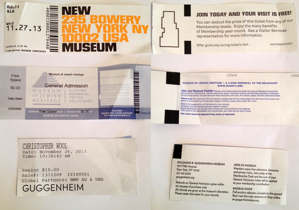 Annas small collection of NYC museum tickets