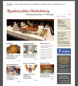 Auf der Startseite des Residenzschloss Heidecksburg findet der Besucher Öffnungszeiten, Adresse, soziale Medien sowie bilderreiche Anreißer zu weiterführenden Themen wie Ausstellung, Museumspädagogik und Veranstaltungen.