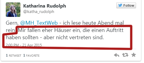 Tweet Katharina Rudolph am 21.4.2015