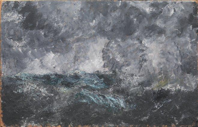 """August Strindberg (1849-1912), Uvejr i Skærgården. """"Den flyvende hollænder"""", Dalarö, 1892. 62x98 cm. kms3432"""