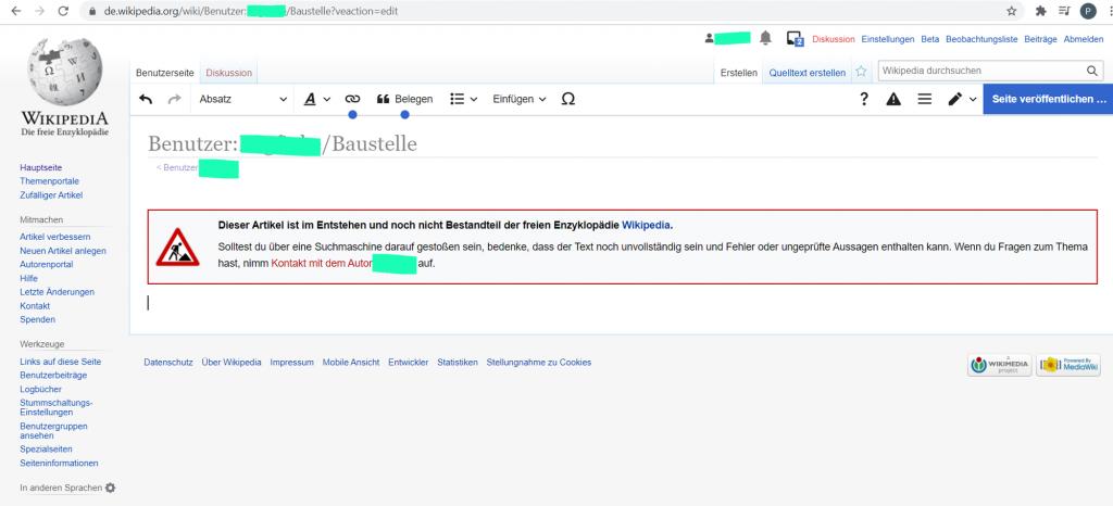 Wikipedia Entwurfseite anlegen