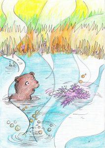 """Illustration aus """"Bonny Wundernuss"""" von Elisabeth Dommer, Zeichnung: Marlene Hofmann"""