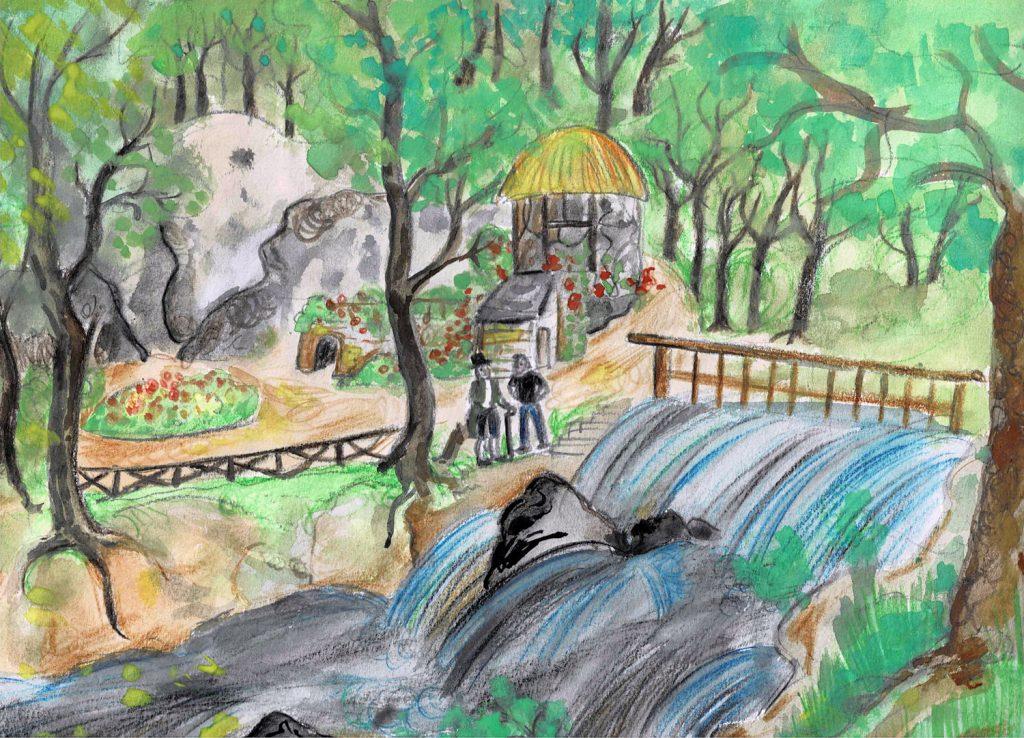 """Die Einsiedelei in Nöbdenitz - Illustration aus dem Kurzgeschichten-Band """"Wasserspiele"""" von Marlene Hofmann"""