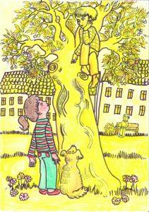 """Illustration aus """"Die butterblumengelbe Stadt"""" von Elisabeth Dommer, Zeichnung: Marlene Hofmann"""