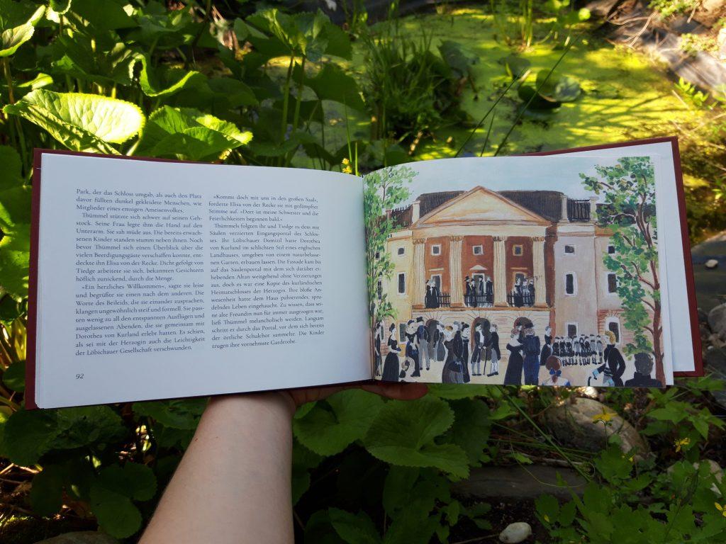 """Blick ins Buch """"Wasserspiele"""" von Marlene Hofmann: Hier eine Illustration der Geschichte """"Wind in den Segeln und am Ufer ein Schloss""""."""