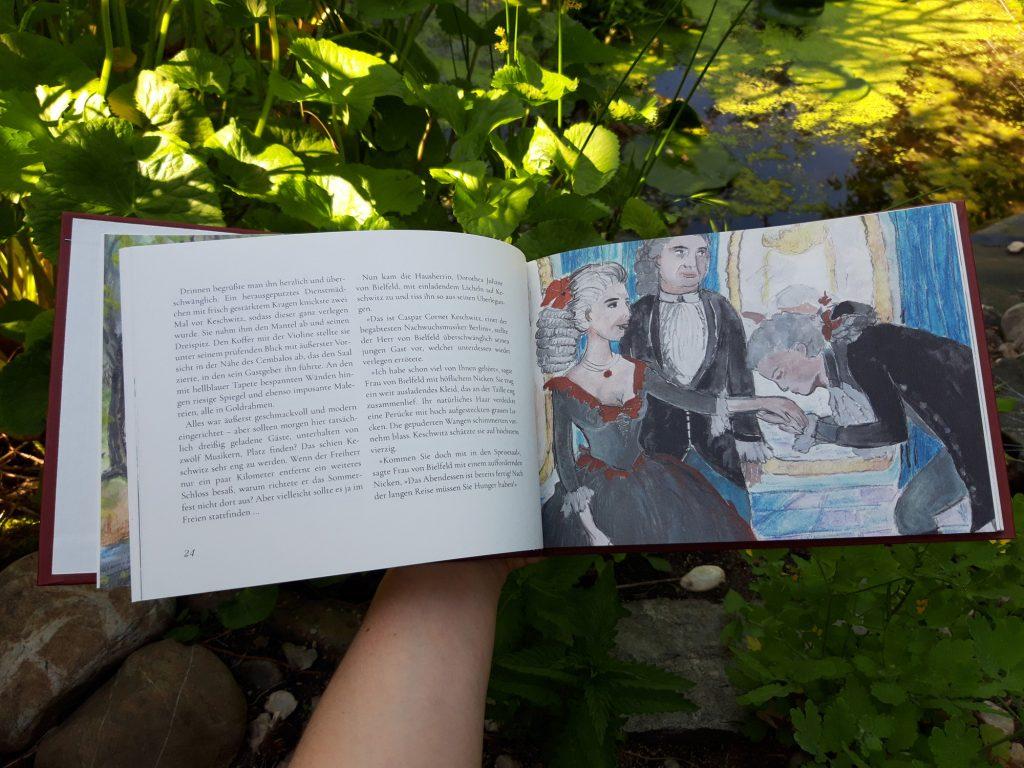 """Blick ins Buch """"Wasserspiele"""" von Marlene Hofmann: Hier eine Illustration der Geschichte """"Konzert mit Fischen""""."""