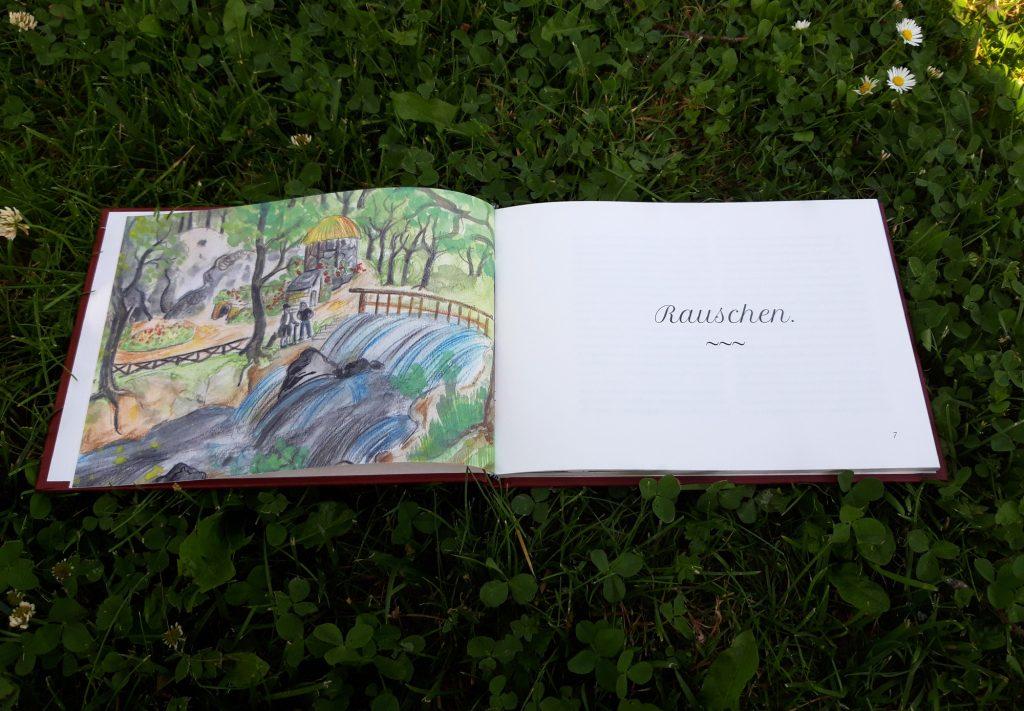"""Deckblatt der Kurzgeschichte """"Rauschen"""" im Buch """"Wasserspiele"""" von Marlene Hofmann"""