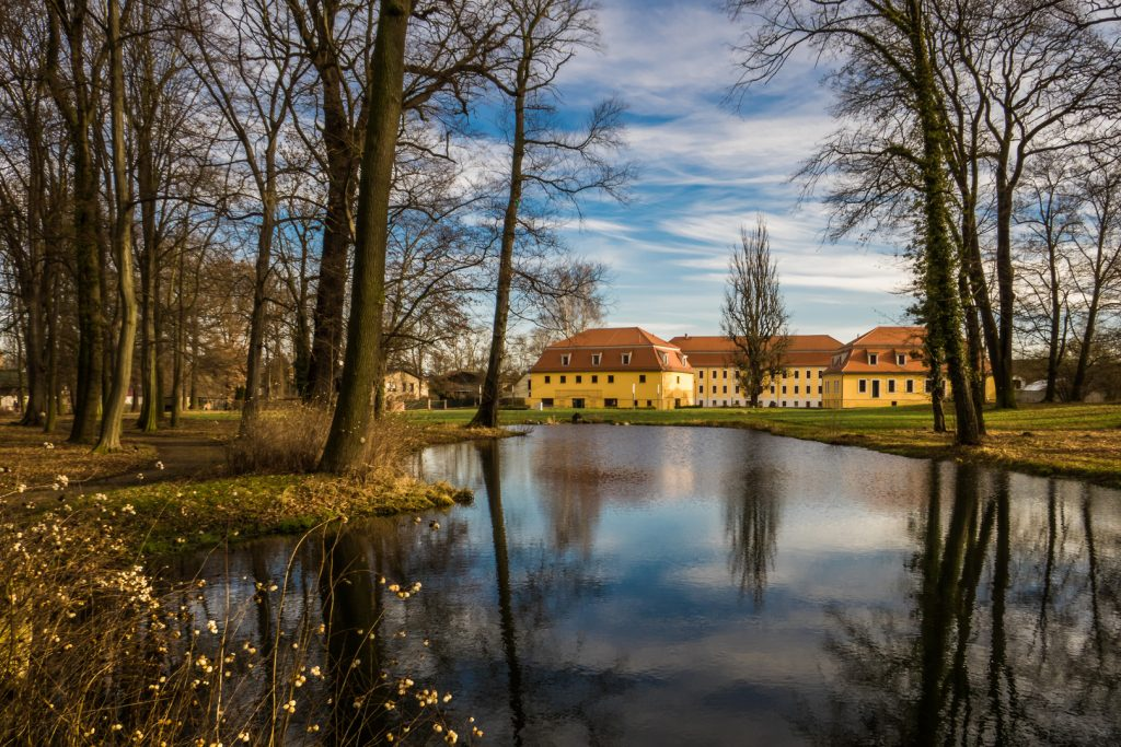 Im Vordergrund ein Teich, im Hintergrund die gelben Gebäude des Ritterguts Treben